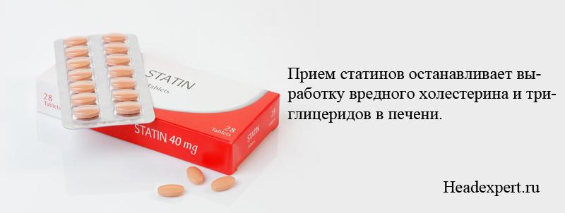 Прием статинов останавливает вы- работку вредного холестерина и три- глицеридов в печени.