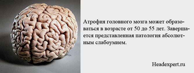 Атрофия головного мозга может образовываться в возрасте 50-55 лет