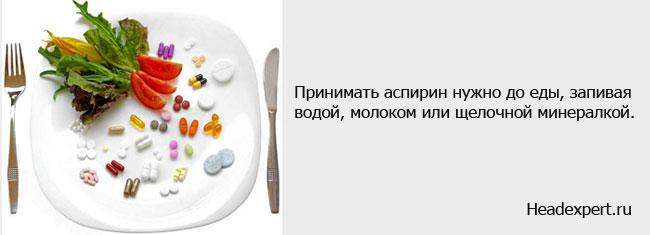 Принимать аспирин нужно до еды, запивая водой