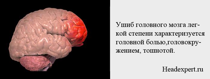 Ушиб головного мозга легкой степени проявляется головной болью и головокружением